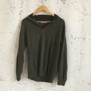 ALEX CANNON GREEN ZIP UP SWEATER S